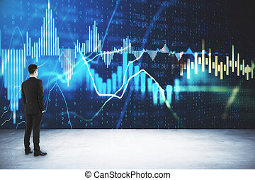 Businessman standing in office with glowing forex charts