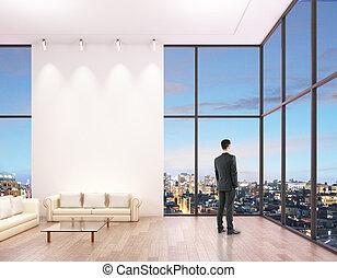 businessman standing in room