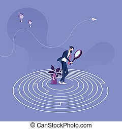 Businessman standing in the center of a maze trying to find way out-Business problem solution concept