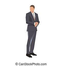 Businessman standing, isolated geometric vector illustration. Flat design.