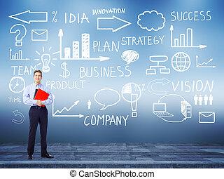 Businessman standing near Innovation plan. Success strategy...
