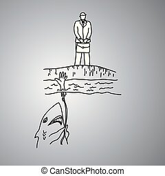 businessman standing near the river with the shark trying to bait him vector illustration doodle sketch hand drawn with black lines isolated on gray background. Teamwork business concept.