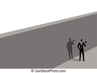 Businessman standing near wall with a hammer