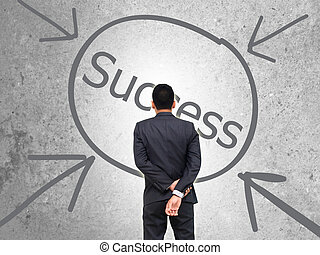 businessman standing of watching Successful business.