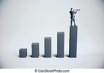 Businessman standing on abstract gray chart
