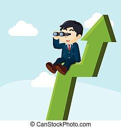 businessman standing on an arrow