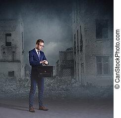 Businessman standing on apocalyptic background. Crisis, default, setback concept.
