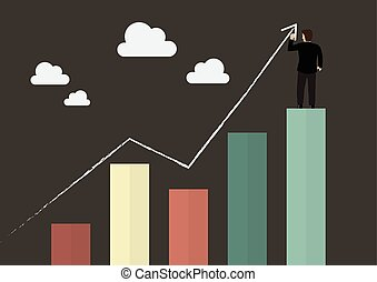 Businessman standing on bar graph drawing a growth chart