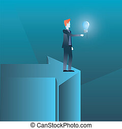 businessman standing on business arrow with bulb idea