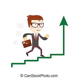 Businessman standing on chart going up. Concept of business success.