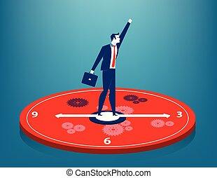 Businessman standing on clock