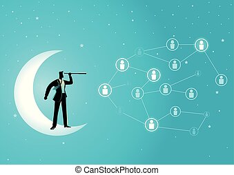 Businessman standing on crescent moon with telescope