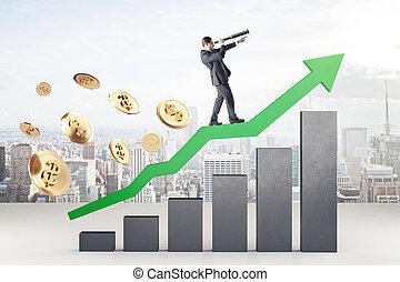 Businessman standing on green arrow