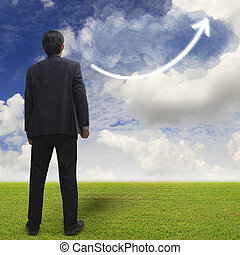 Businessman standing on green field