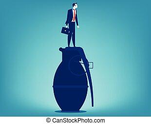 Businessman standing on hand grenade. Concept business vector.