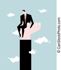 Businessman  standing on hand. Rise of man. Help from boss. Protege director. Help in work. Manager climbs the career ladder. Sky and clouds
