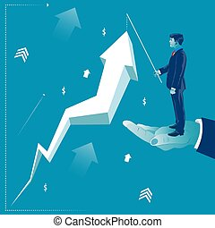 Businessman standing on helping hand and lifting profit arrow. Business concept vector illustration