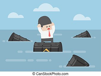 Businessman standing on oil barrels in the ocean
