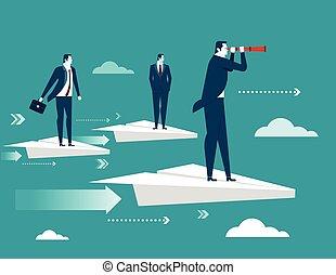 Businessman standing on paper plane