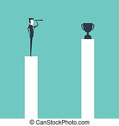Businessman standing on pillar and use telescope looking to trophy for success.