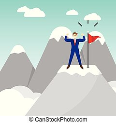 Businessman Standing On Pinnacle Of The Mountain - Business...