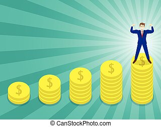 Businessman Standing On Pinnacle Of Coins - Business Concept...