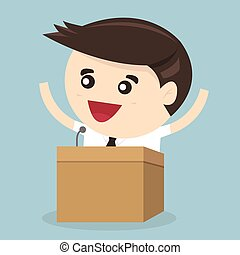 Businessman standing on podium and giving a speech, flat design