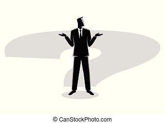 Businessman standing on question mark shadow