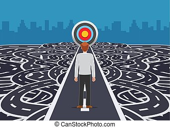 Businessman standing on road that cutting straight to the target