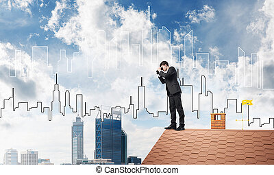 Businessman standing on roof and looking in binoculars. Mixed media