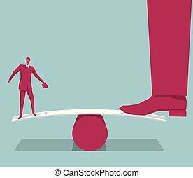 Businessman standing on seesaw. Isolated on blue background.