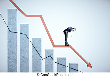 Businessman standing on stock crash recession chart with arrow.