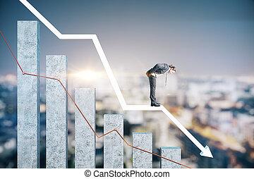 Businessman standing on stock crash recession chart