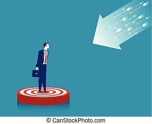 Businessman standing on target