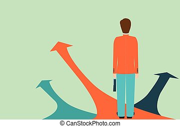 Businessman standing on the arrow with many directions ways, Choices concept.