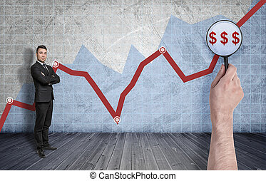 Businessman standing on the background of rising diagram