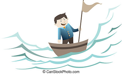 businessman standing on the boat