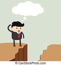 Businessman standing on the cliff and looking for way to across to the opposite side, VECTOR, EPS10