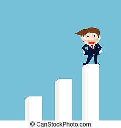 Businessman Standing on the graph, Vector cartoon
