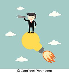 Businessman standing on the light bulb with a telescope. Vector illustration.