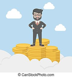 businessman standing on the pinnacl