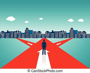 Businessman standing on the road