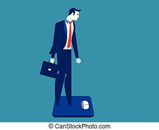 Businessman standing on the scale. Concept business illustration.