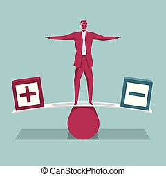 Businessman standing on the seesaw. Isolated on blue background.