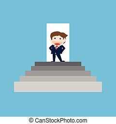 Businessman Standing on the stair, Vector cartoon