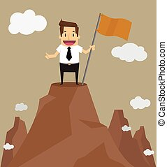 Businessman standing on the top of a high mountain. Business success concept