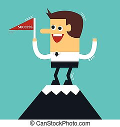 Businessman standing on the top of a high mountain, flat design, vector