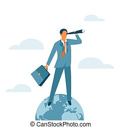 Businessman standing on the top of the world and looking for new opportunities. Success, global leadership or the winner business concept. Global market control. Vector