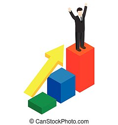 Businessman standing on the winning podium icon