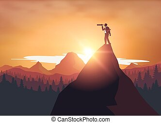 Businessman standing on top mountra
